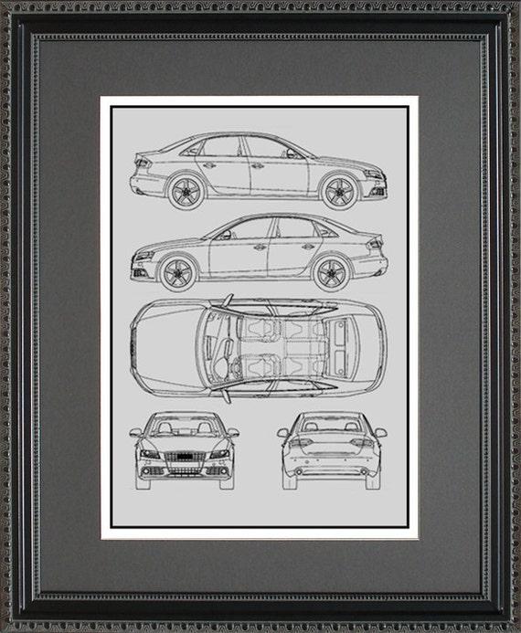 Audi blueprint framed art car auto gift choose your model malvernweather Images
