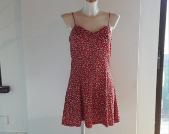 90s red tiny ditsy floral print skater dress