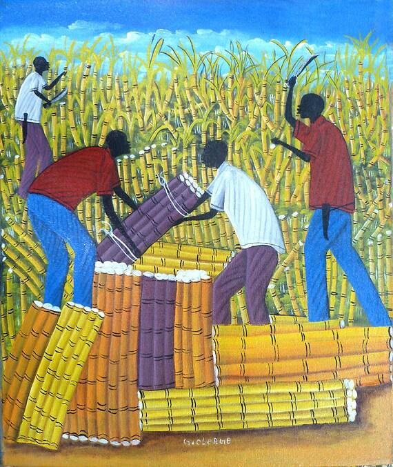 Haitian Art Haitian Painting Canvas Art Sugercane Cutters