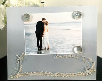 Heart in Sand With Starfish - Beach Wedding Vacation Handmade Gift Present Home Decor Magnetic Picture Frame Size 9 x 11 Holds 5 x 7 Photo