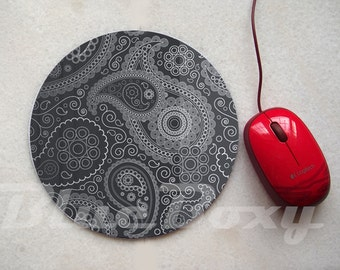 Black Paisley Mousepad, Office Mousepad, Computer Mouse Pad, Fabric Mousepad