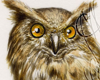 "Martinefa's Original watercolor and Ink in hand personalised frame - ""Hibou"""