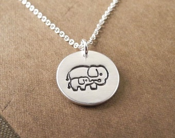 Small Mother and Baby Elephant Necklace, New Mom Necklace, Fine Silver, Sterling Silver Chain, Ready to Ship