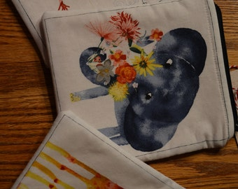 Small Zippered Pouches  5X6 inch