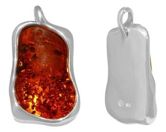 1 Pc 17x25 mm Amber Natural Large Irregular Shape Gemstone Pendant (GSP100125)