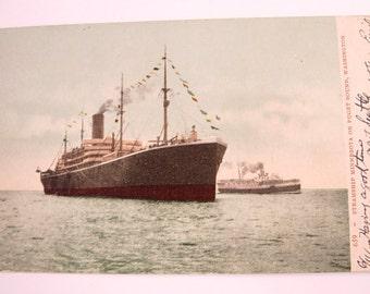 Vintage Victorian Postcard of the Steamship Minnesota of Puget Sound Washington