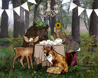 Woodland Tea Party, forest animals, floral crowns, bear, doe deer, fox, bunny rabbit, owl, tea time, woodsy art print, animal illustration