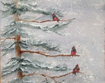 Fine Art Watercolor image made into Christmas Cards,w/ Red Cardinals on Pine Tree Branches on a Snowy, Cold Winter Day by Janet Dosenberry