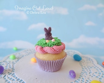 Fake Cupcake Handmade Easter Spring Faux Candy Eggs Rabbit Home Decor