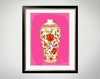 Orange Pink Asian Vase Art Print, Chinese Wal Decor, Palm Beach Style Art Print, Modern Chinoiserie, Orange Pink Art, Ginger Jar Art