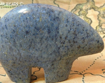 Dumortierite HUGE Zuni Bear Pendant or Stand alone 80 MM New Zuni Bears Gemstone