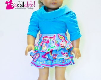 18 inch doll clothes made to fit like american girl doll clothes, turquoise muse top and tuquoise ruffled skirt