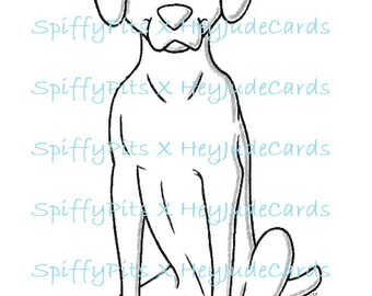 Digital Stamp or Coloring Page - Weimaraner or Vizsla Dog Breed Stamp - A portion of every sale to RESCUES!!!