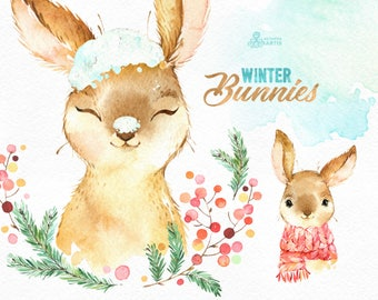 Winter Bunnies. Watercolor holiday clipart, rabbit, red, hare, Christmas, card, wreath, snow, country, nursery art, nature, realistic, wild