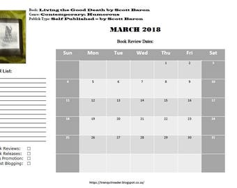 Digital Book Blogging Calendar March 2018