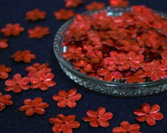 15 mm • Red Glitter Flower Sequins