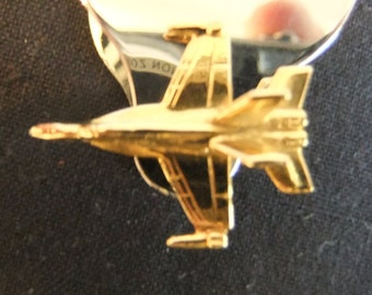 Vintage Aircraft Tie Pin Military Fighter Jet - Gold Plated Militaria and Men's Gift - Military Pin