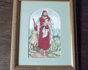 "The Good Shepherd Jesus with Sheep Christian Vintage Cross Stitch Embroidery Framed Picture 9 1/2"" x 11 1/2"" or 24.5cms x 29.5cms"