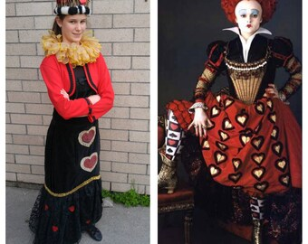 Upcycled Clothing Red Queen Costume Alice in Wonderland Queen of Hearts Costume, Crown, Gold Collar, Black Dress and Red Jacket, Adult