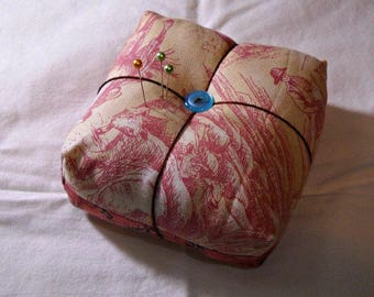 Pink Cowboy Chunky Pincushion Handmade by Curlicue Creations OOAK Sewing Notions