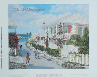 Strawberry House - Bahamian art print of original oil painting by Eddie Minnis