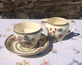 Johnson Bros Indian Tree Tea Set / Teacup & Saucer / Milk jug