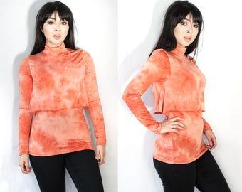 Orange Cream Tie Dye Turtle Neck Double Layered Long Sleeve Top XS S M L XL XXL