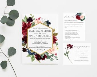 Burgundy and Gold Wedding Invitation, Burgundy Wedding Invitation Template, Wedding Invitation Printable, Floral Invite, Instant Download