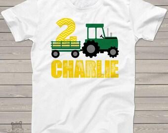 Tractor birthday shirt - green yellow chevron personalized birthday shirt - plow tractor MBD-008
