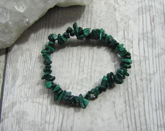 Malachite Chip Bracelet Gemstone Tumblechip Stretchy Elasticated Jewellery