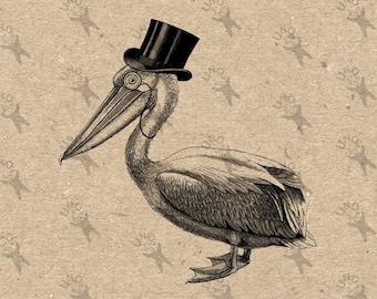 Vintage Pelican Top Hat gentleman Bird Instant Download picture Digital printable clipart graphic scrapbooking, home decor,prints etc 300dpi
