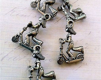Girl on Scooter Charms -5 pieces-(Antique Pewter Silver Finish)--style 622--