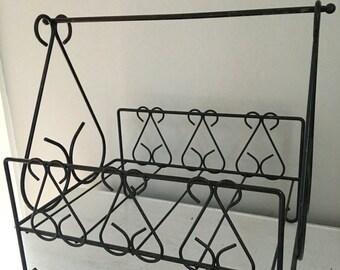 Scrolled iron basket, iron newspaper holder, iron magazine rack, firewood basket, iron wood basket fireplace basket