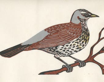 Linocut relief print Fieldfare limited edition original hand pulled print