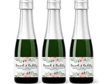 Bridal Shower Mini Champagne Labels - Brunch and Bubbly Wedding Shower Favors - Bachelorette Party Mini Labels - Custom Bridal Shower Favors