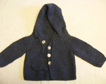 Kaputzenjacke/Baby Hoodie, handmade, merino wool//A jacket/hoodie for your infant, hand made, merino wool