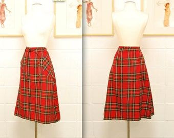 HOLIDAY 1960's/70's Red L.L. Bean Plaid Wool Skirt / Dorothy 2 / Winter Skirt / Rare Collectable Retro