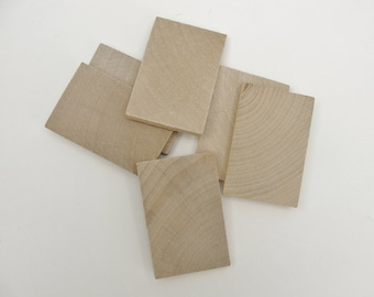 """Wooden rectangle 2 3/8"""" x 1.5"""" unfinished DIY set of 6"""