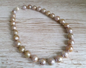 """Nucleated Pearl Necklace Natural Fresh Water Pearls 925 Sterling Silver UK Made 19"""""""