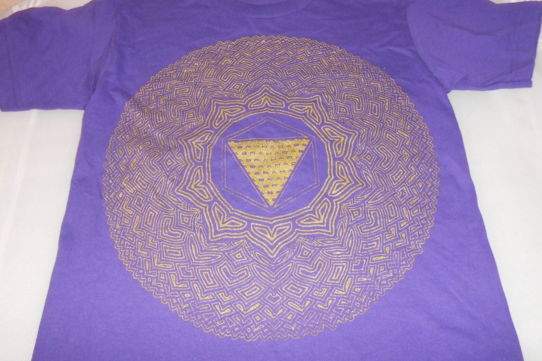 T Shirt Thousand Petal Lotus Gold On Purple
