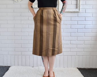 Vintage Muted Brown and Green Striped Wool Skirt by John Meyer Size XS or Small