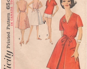 1963 - Simplicity 5302 Vintage Sewing Pattern Size 14 Bust 34 Blouse Shorts Back Wrap Skirt Collarless V Neck Fitted Inverted Pleat Shorts