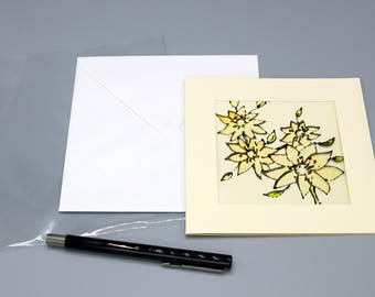 feminine card - greeting card - handmade - birthday card - blank card - painted flowers - floral card -  uk seller - glass painted card
