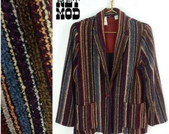 Vintage 70s Boho Corduroy Style, Textured Purple, Maroon, Multicolor Stripe Blazer Jacket!