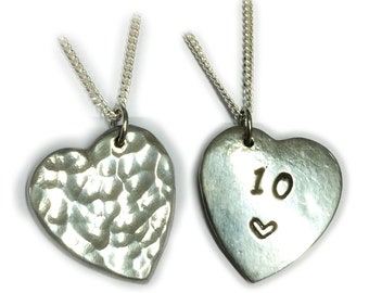 10th Wedding Anniversary Gift. Reversible Tin Necklace