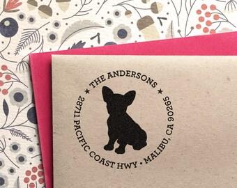 Custom Address Stamp - French Bulldog / Frenchie Return Address Stamp, customized gift for holidays, housewarming and weddings, school