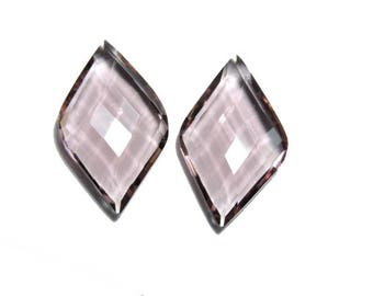 2 Pieces Beautiful Rohdolite Quartz Faceted Fancy Shaped Loose Gemstone Size 25X15 MM