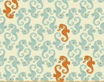 Mendocino by Heather Ross - Sea Horses in Light Blue (40941-7) - 1 Yard