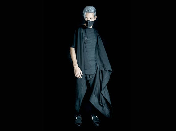 Coat Sleeveless Cape Coat Cardigan Long Cape Man Burning Dark Black Black Sleeveless Cape Gothic Shawl Black Black Style Futuristic xvSYzTaqnw