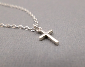 """Tiny Silver Cross Necklace. Free Shipping. Smooth Sterling Silver Pendant. Simple Minimal. Dainty Delicate. Faith in God. Spirit. 3/8"""""""